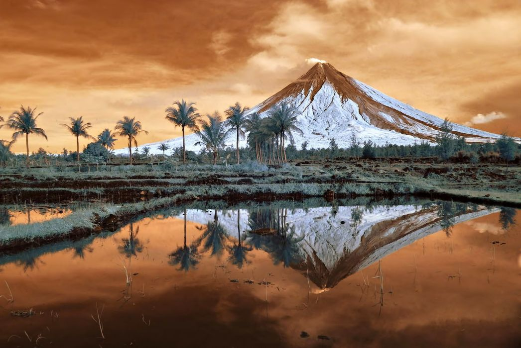 landscape nature trees mountain Mount Mayon Philippines Luzon reflection volcano  g wallpaper
