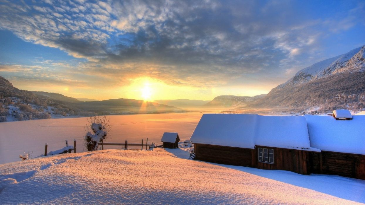 mountains nature winter house snow house wallpaper