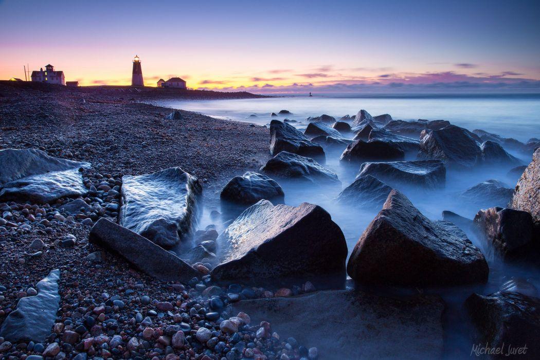 sunset sea beach rocks lighthouse landscape wallpaper