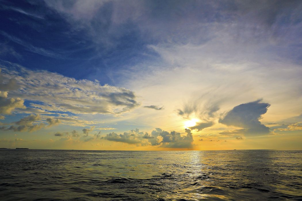 sunset sea sky landscape wallpaper