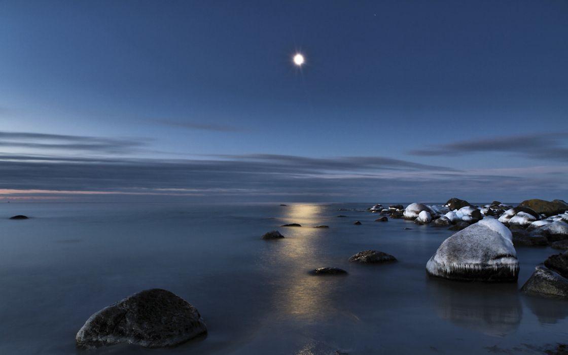 water reflection light moon rocks sea wallpaper
