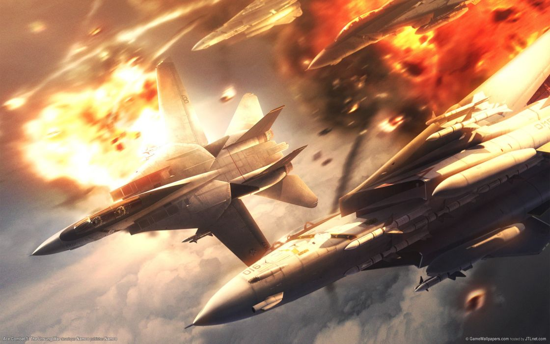 ACE COMBAT game jet airplane aircraft fighter plane military battle explosion fire   g wallpaper