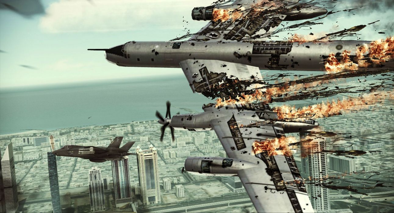 ACE COMBAT game jet airplane aircraft fighter plane military battle explosion fire  jf wallpaper
