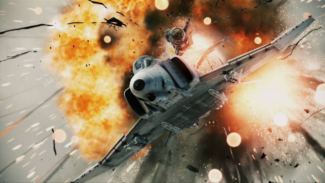 ACE COMBAT game jet airplane aircraft fighter plane military battle explosion fire  y wallpaper