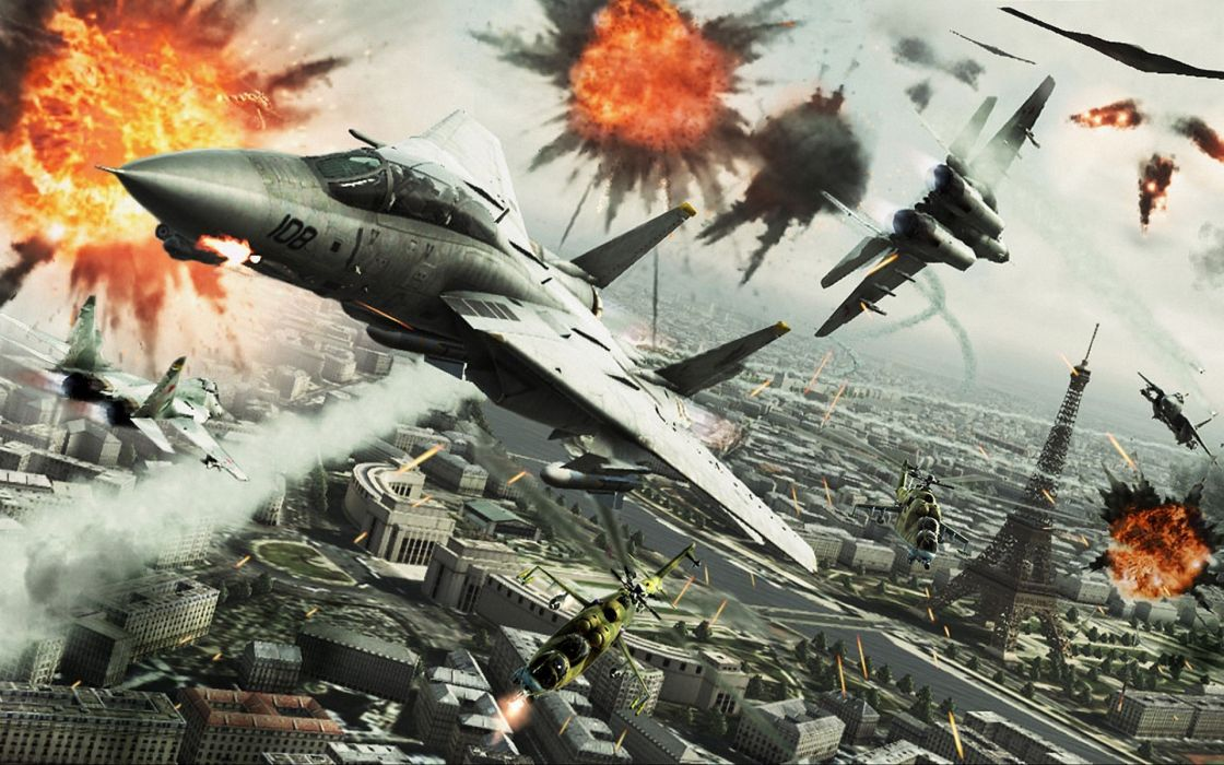 ACE COMBAT game jet airplane aircraft fighter plane military battle explosion fire city eiffel tower paris france  g wallpaper