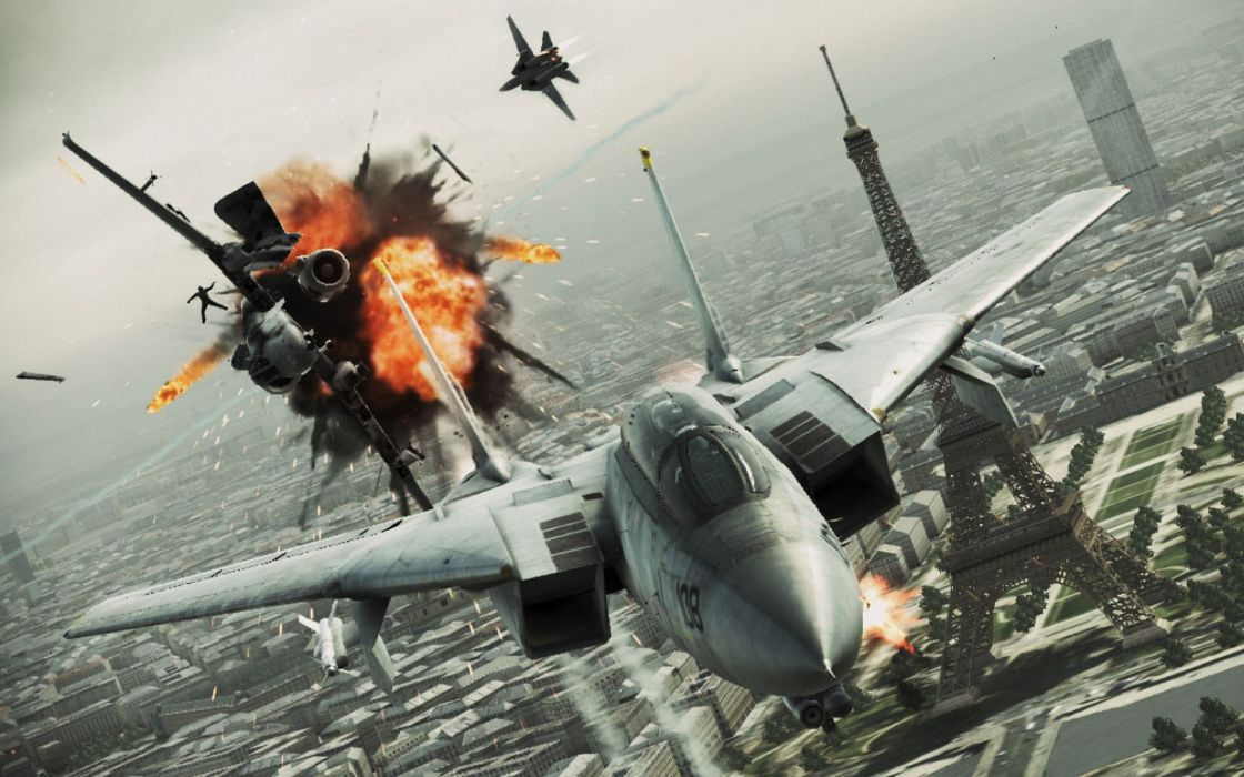 ACE COMBAT game jet airplane aircraft fighter plane military battle explosion fire paris city france eiffel tower  f wallpaper