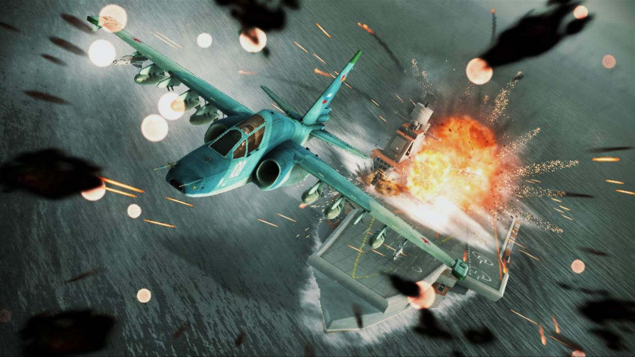 ACE COMBAT game jet airplane aircraft fighter plane military battle explosion fire ship boat carrier    hg wallpaper