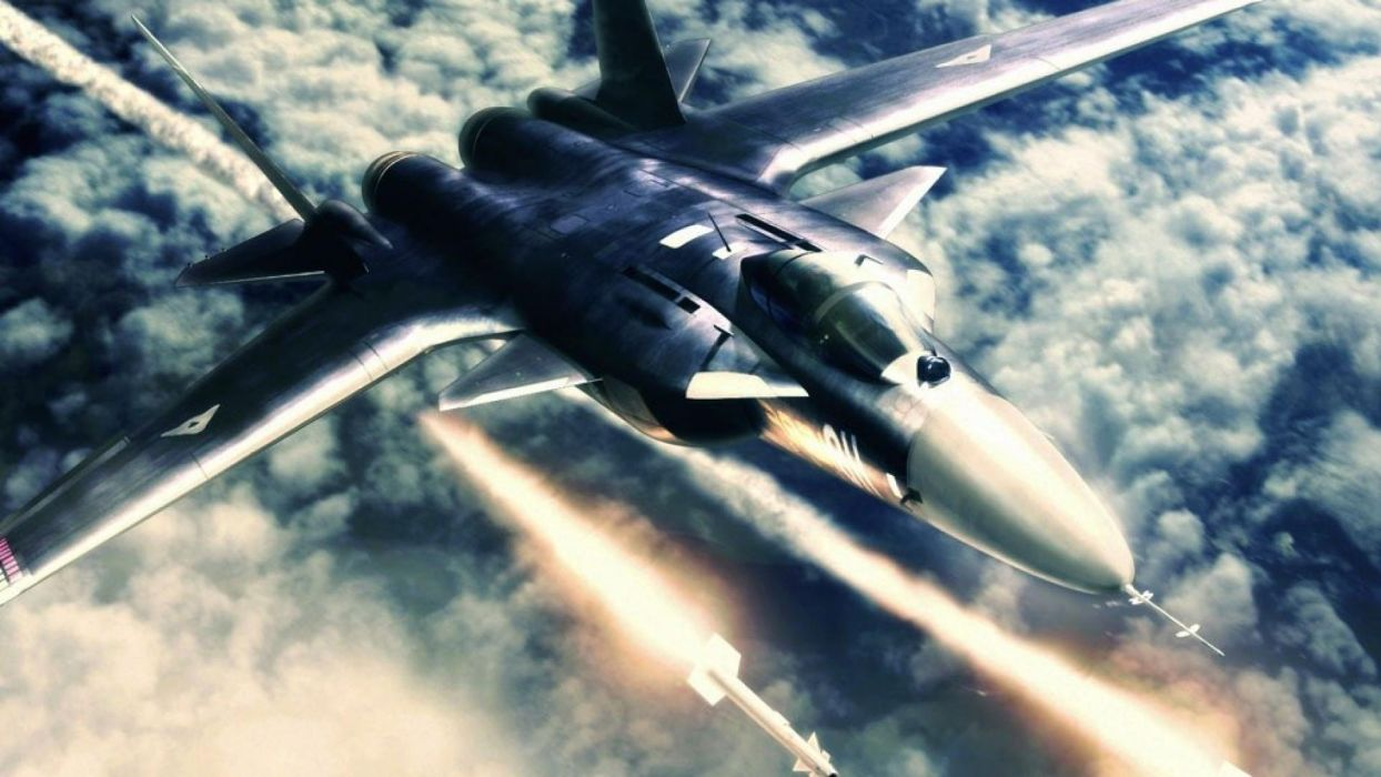 ACE COMBAT game jet airplane aircraft fighter plane military battle weapon missile sky clouds   d wallpaper