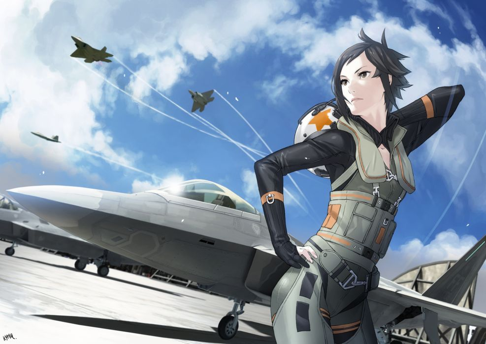 ACE COMBAT game jet airplane aircraft fighter plane military girl   h wallpaper