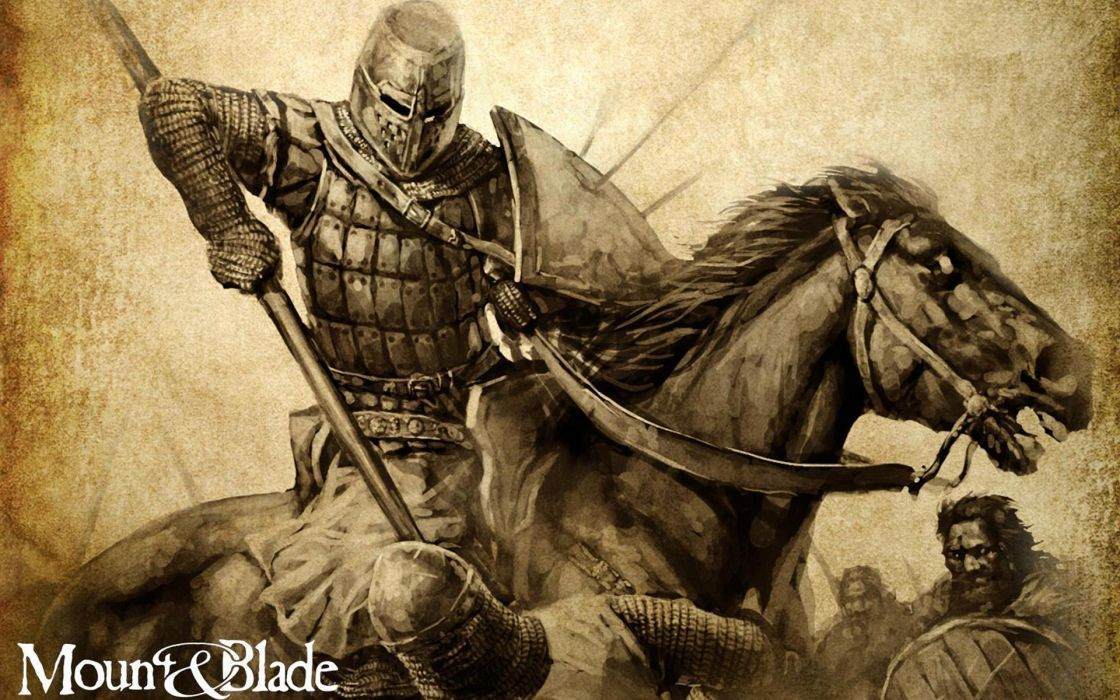 MOUNT AND BLADE fantasy warrior armor knight battle horse poster   f wallpaper