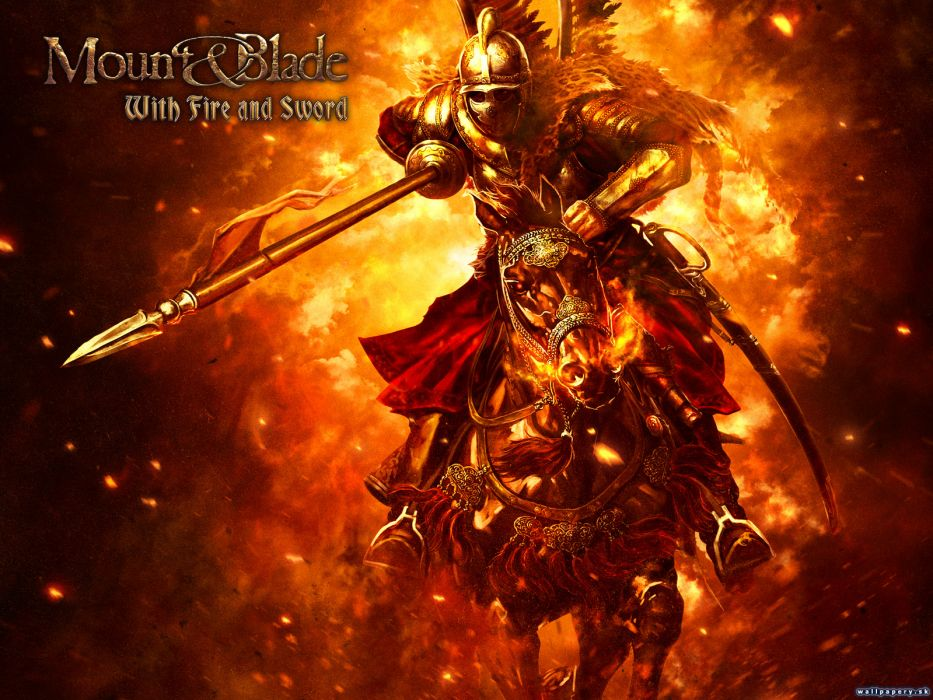 MOUNT AND BLADE fantasy warrior armor knight sword horse fire poster   g wallpaper