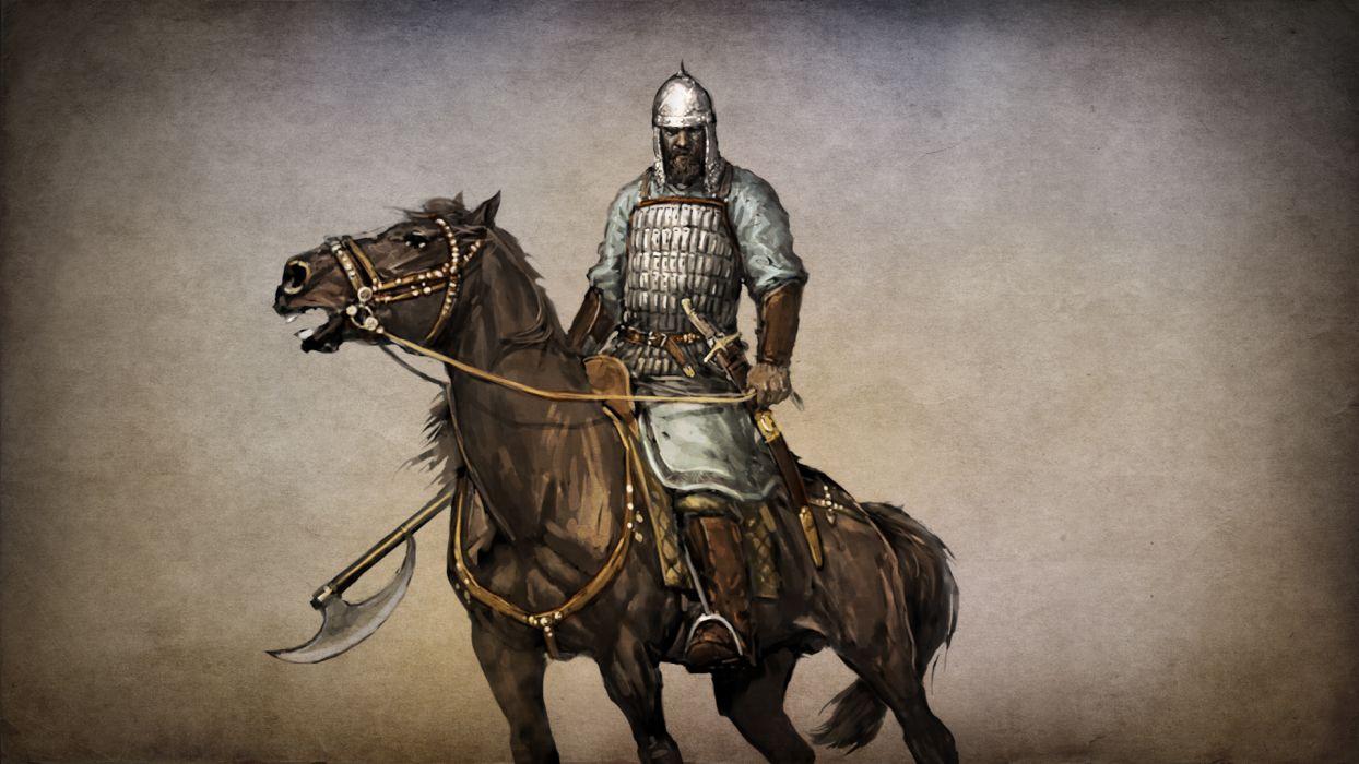 MOUNT AND BLADE fantasy warrior armor weapon horse       e wallpaper