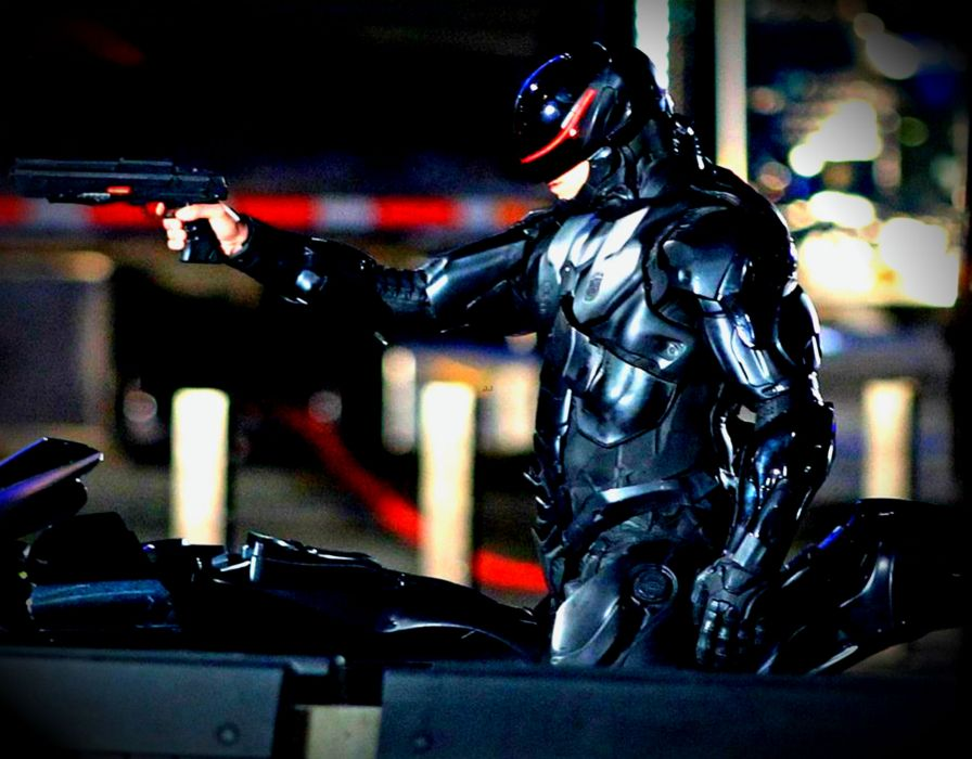 ROBOCOP sci-fi cyborg robot warrior armor weapon gun      ry wallpaper