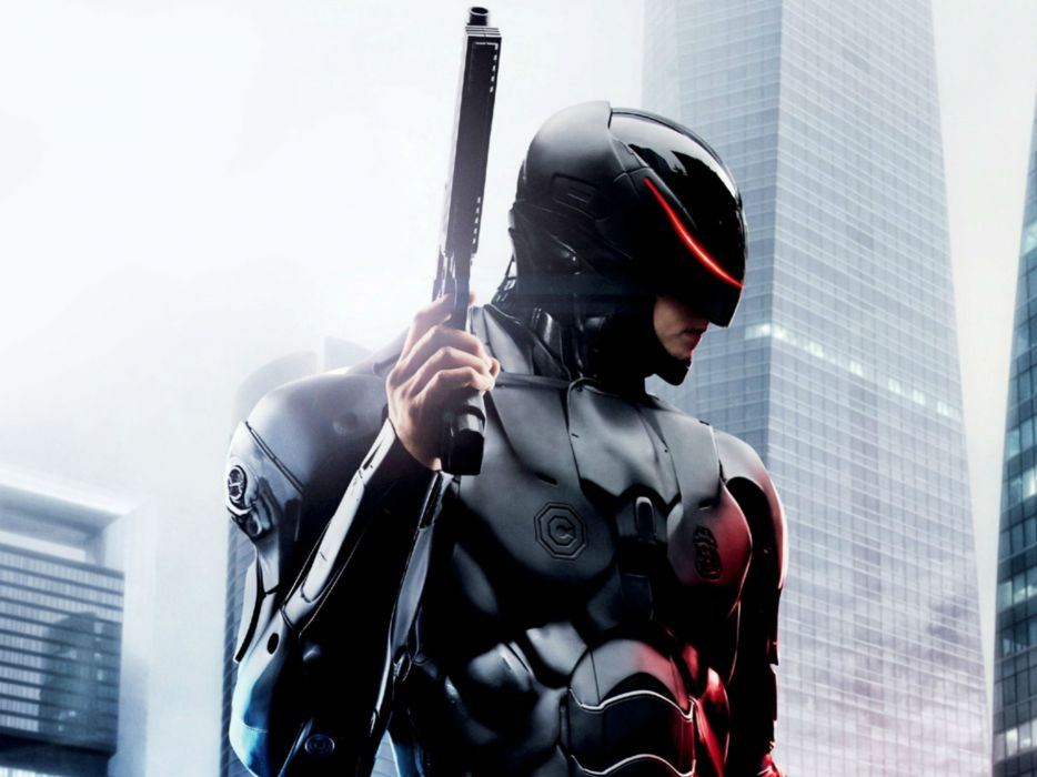 ROBOCOP sci-fi cyborg robot warrior armor weapon gun pistol mask  fj wallpaper