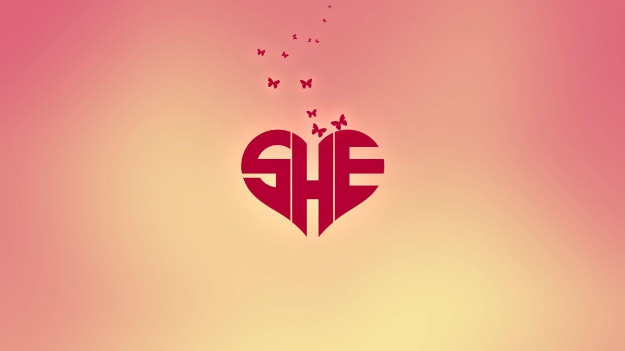 hearts SHE butterflies wallpaper