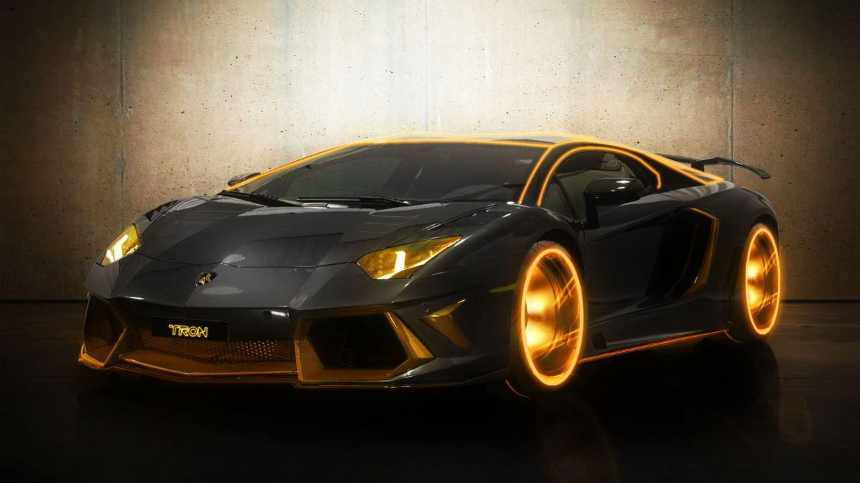 cars orange Tron digitalized supercars Lamborghini Aventador colors modified wallpaper