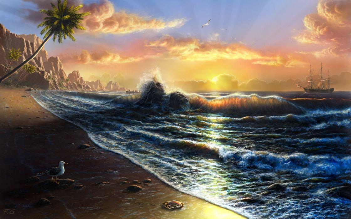 sunset sunrise blue nature Sun yellow animals room ships seagulls Tahiti beaches wallpaper