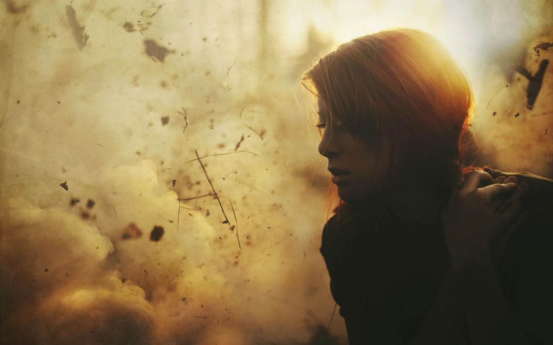 women Sun war explosions redheads sad lonely explosion portraits wallpaper