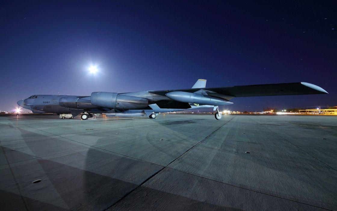 aircraft night airports B-52 Stratofortress wallpaper