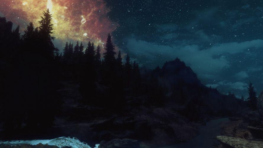 nature screenshots The Elder Scrolls V: Skyrim night sky wallpaper