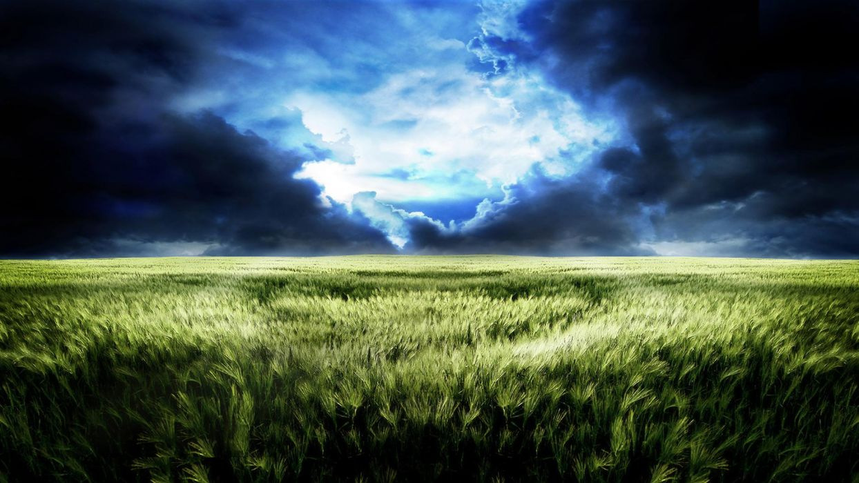 green landscapes grass skyscapes wallpaper