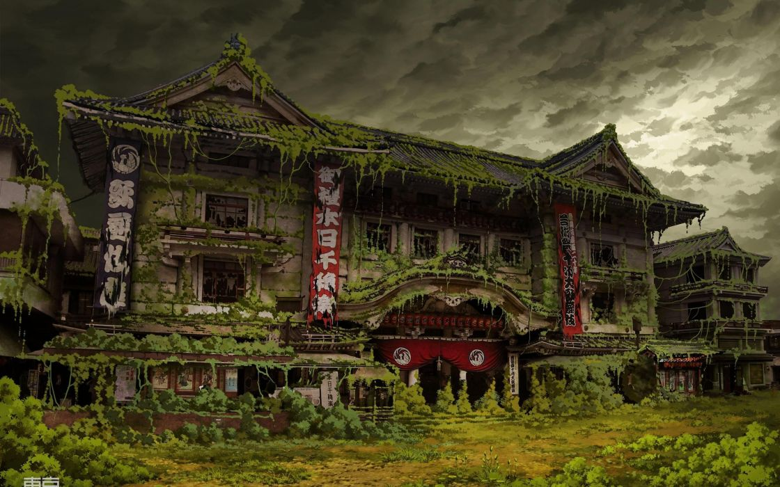 Tokyo ruins architecture overcast Asian architecture Ivy theatre abandoned banners TokyoGenso wallpaper
