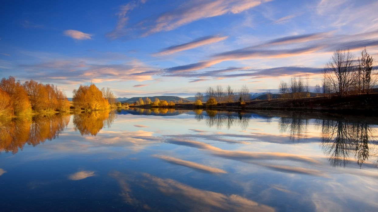 clouds landscapes nature trees skyscapes reflections wallpaper