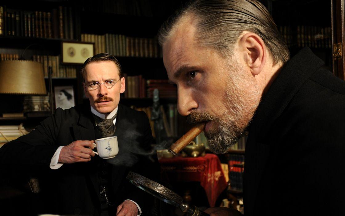 smoking movies doctors Viggo Mortensen Sigmund Freud cigars Michael Fassbender A Dangerous Method Carl Jung wallpaper