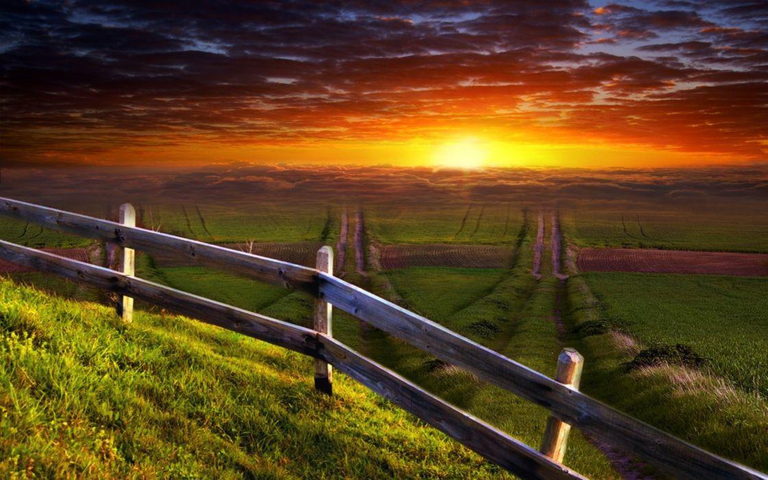 sunset landscapes nature fences grass fields artwork wallpaper