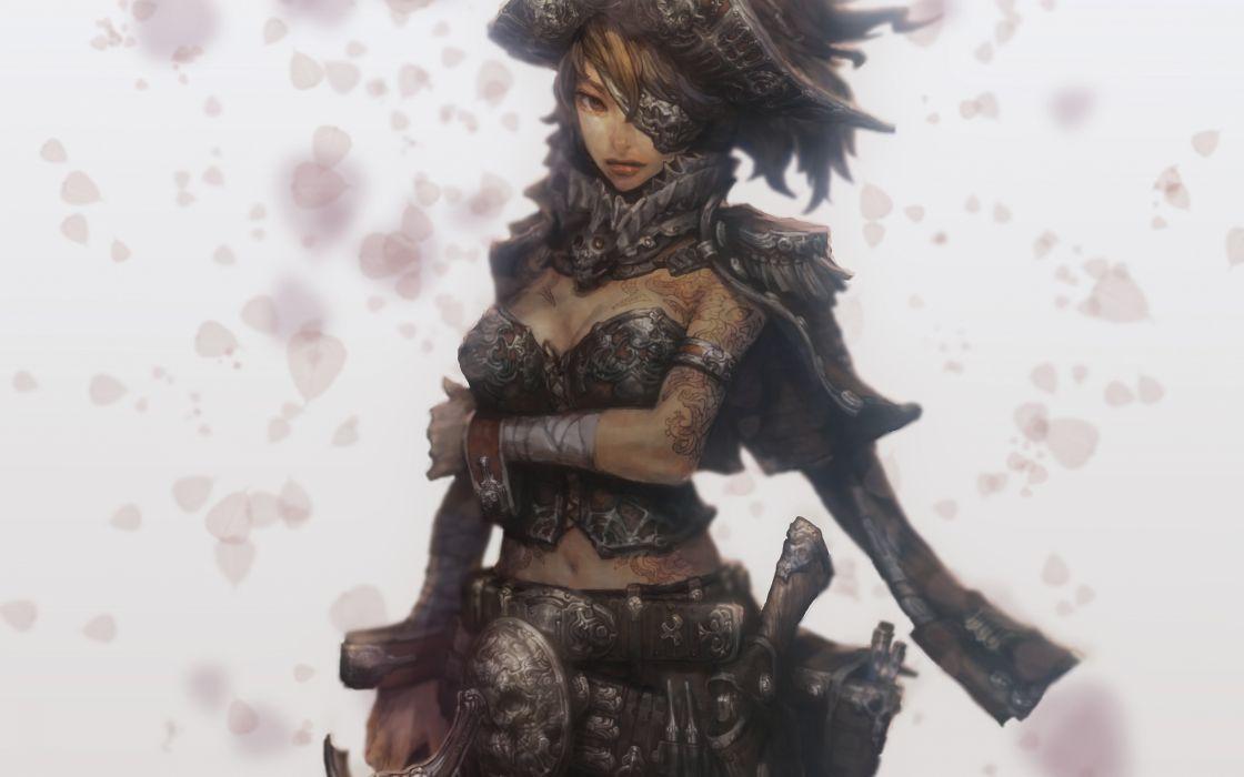 tattoos women pirates short hair artwork anime soft shading anime girls wallpaper