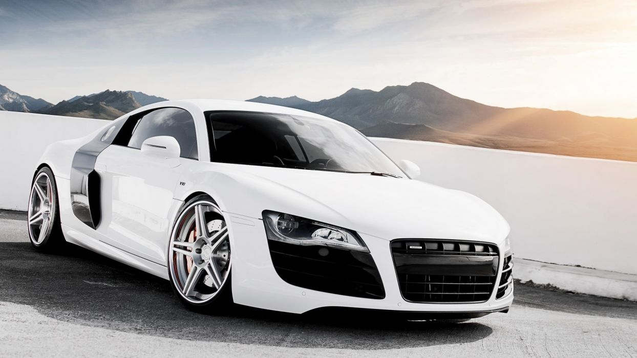 sunrise mountains sand white cars Germany wheels Audi R8 adv1 wheels muscle car wallpaper