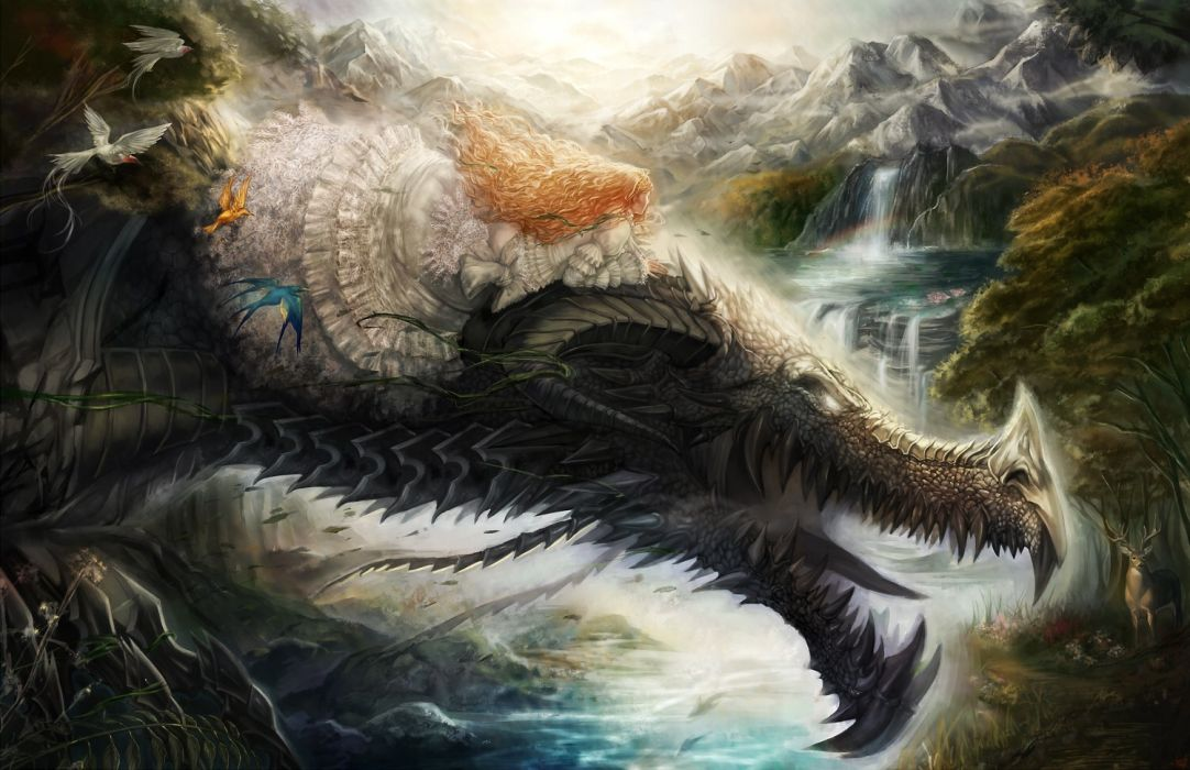blondes women water mountains nature dragons dress birds animals long hair tongue fantasy art open mouth fangs waterfalls white dress white eyes wallpaper