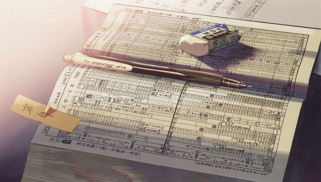memories Makoto Shinkai books 5 Centimeters Per Second anime pencils eraser wallpaper