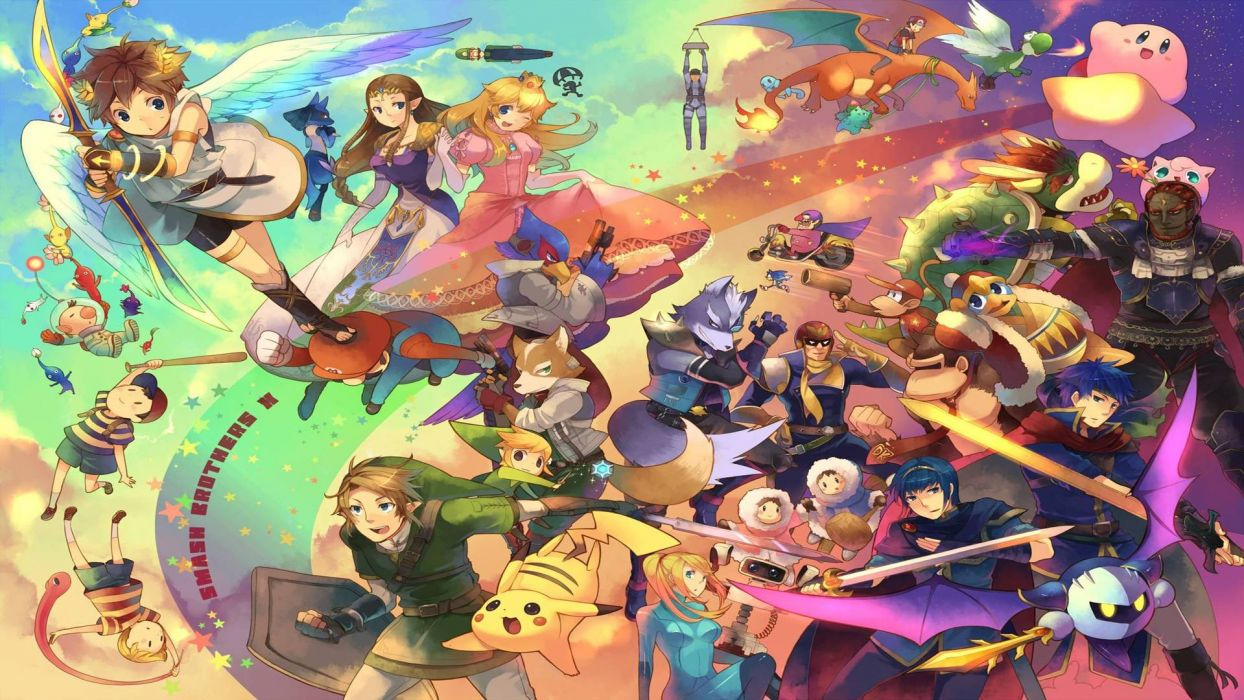 Nintendo Kirby video games Pikachu groups Super Smash Bros Super Smash Brothers wallpaper