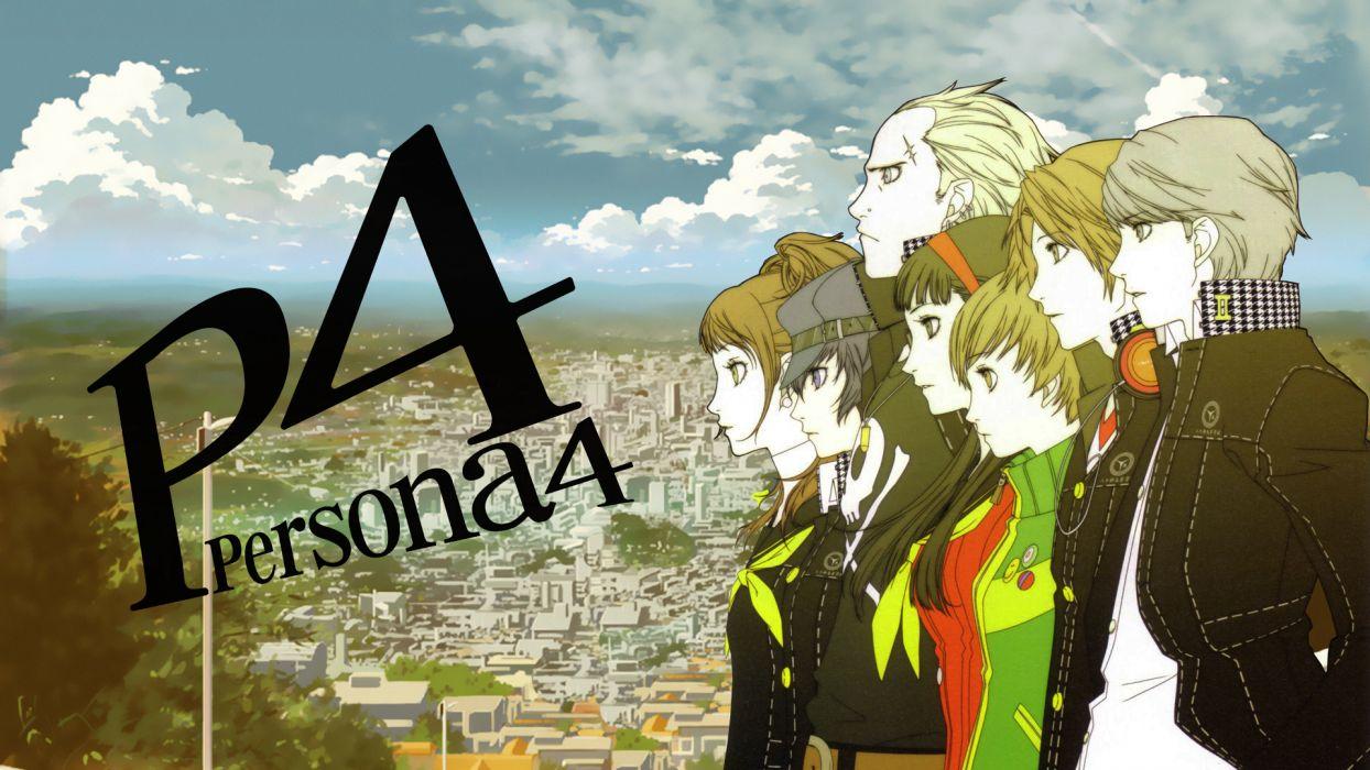 Persona series Persona 4 Hanamura Yosuke Narukami Yuu Satonaka Chie Shirogane Naoto Amagi Yukiko Kujikawa Rise Tatsumi Kanji wallpaper
