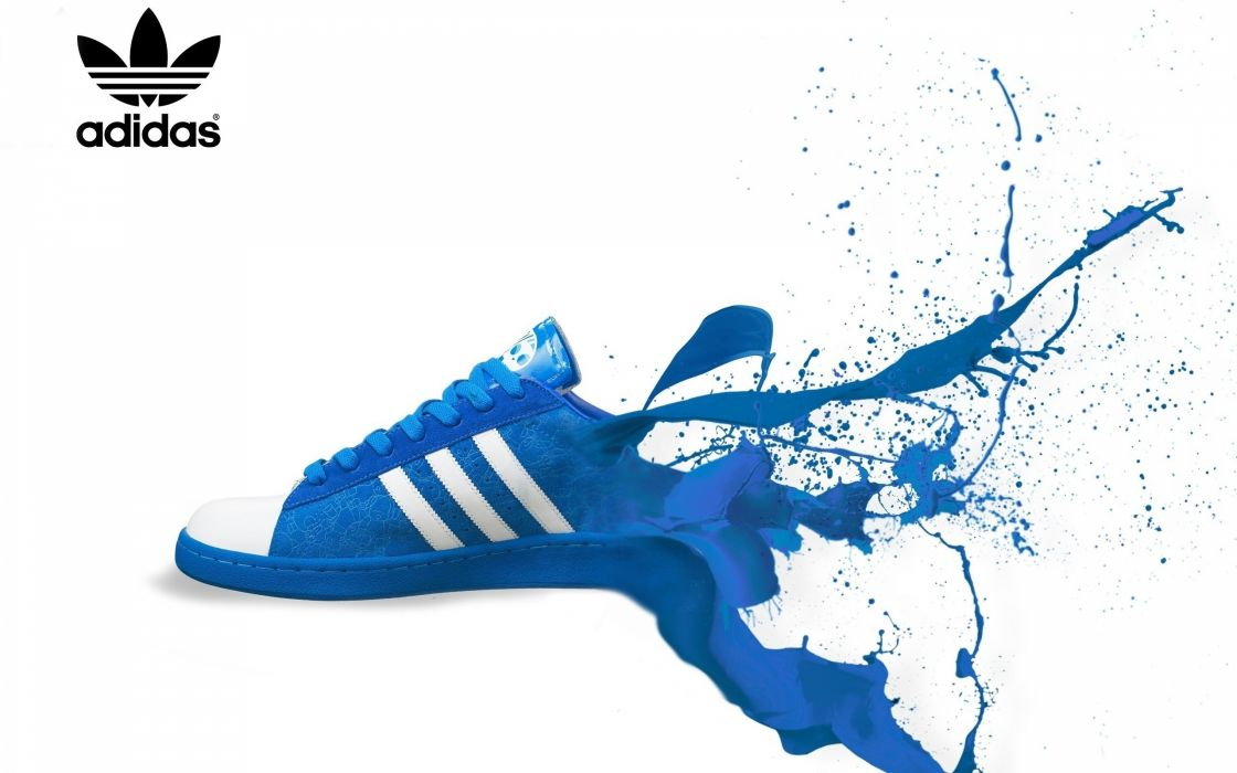 blue Adidas shoes sneakers white background wallpaper