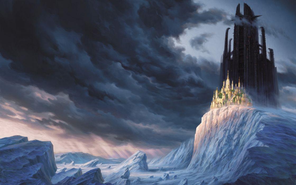 fantasy clouds castles snow landscapes Mortal Engines wallpaper