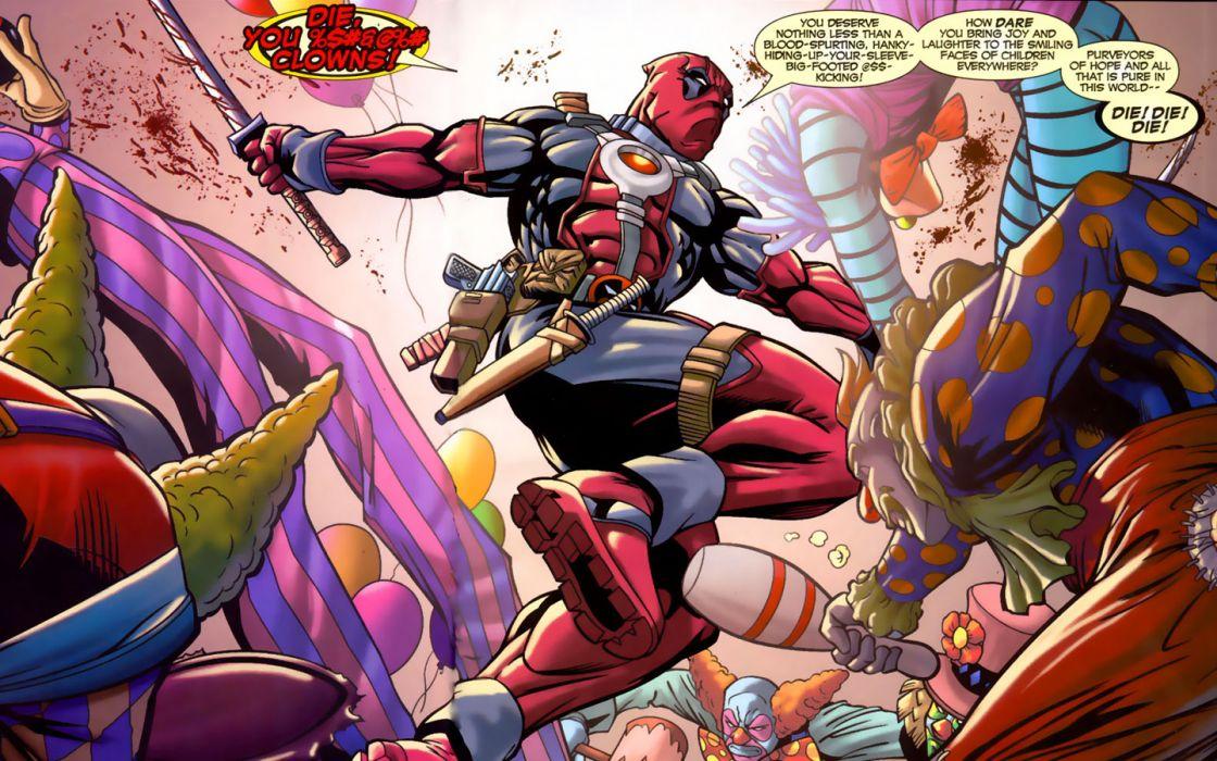 comics clowns Deadpool Wade Wilson Marvel Comics wallpaper