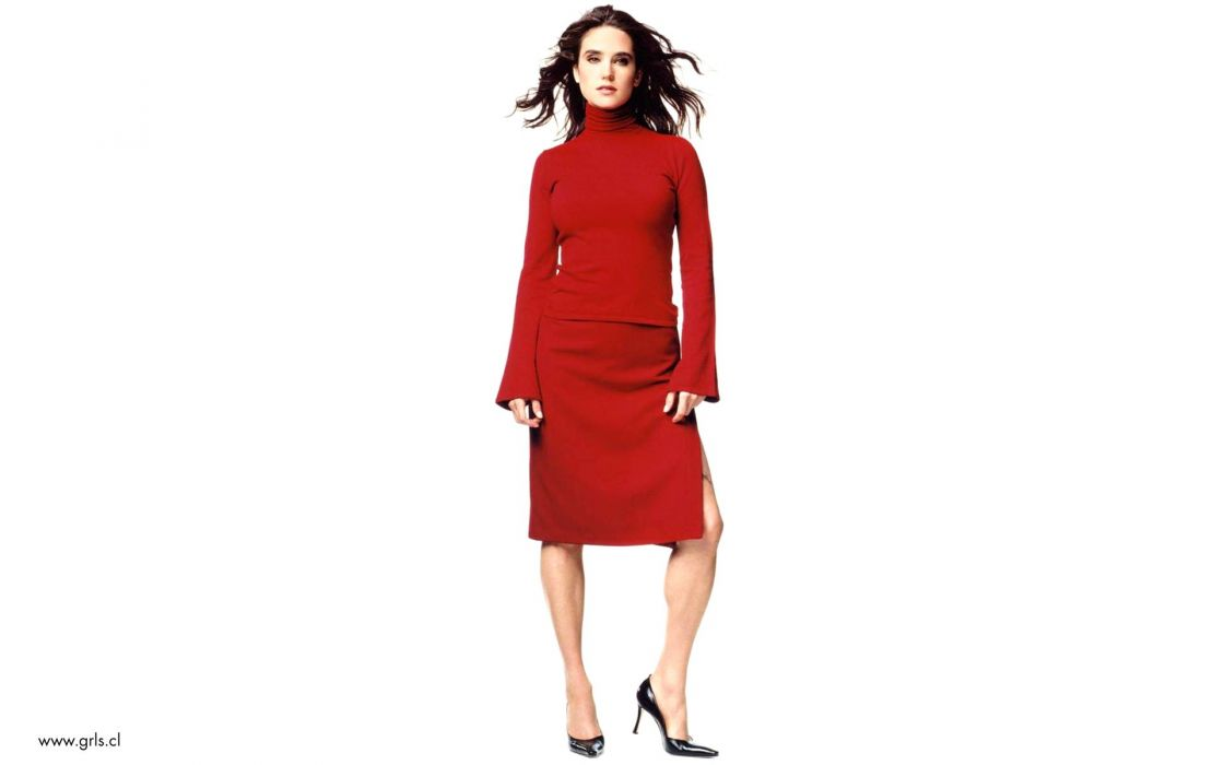 women Jennifer Connelly high heels white background wallpaper