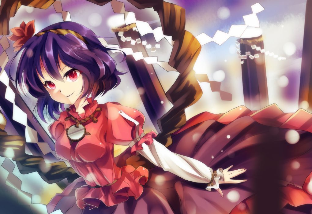 Touhou leaves wind skirts sparkles Goddess purple hair red eyes short hair red dress logs Yasaka Kanako shimenawa onbashira ropes wallpaper