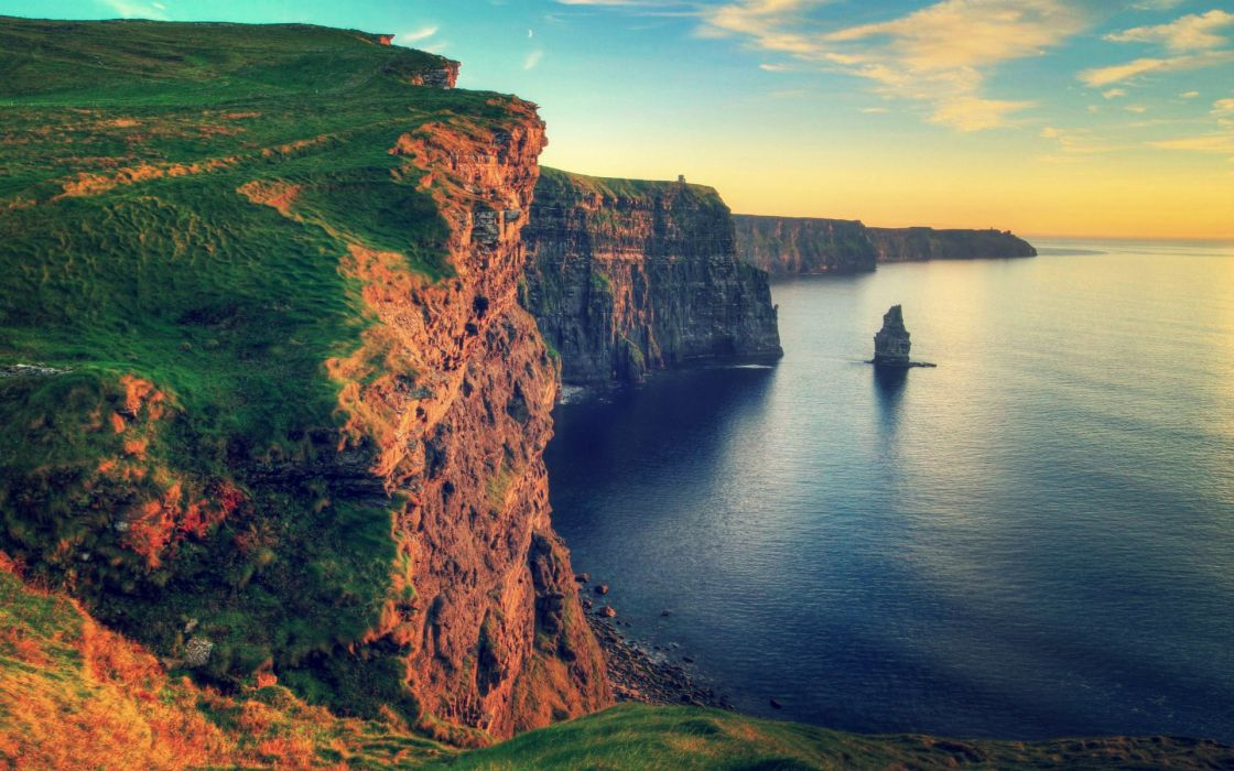 water sunset landscapes nature rocks Ireland Cliffs of Moher sea shorelines waterscapes wallpaper