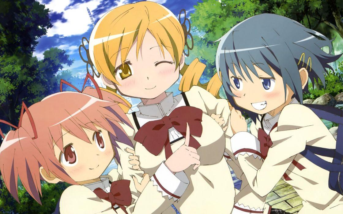 Mahou Shoujo Madoka Magica Miki Sayaka Tomoe Mami Kaname Madoka anime anime girls scans mahou shoujo wallpaper