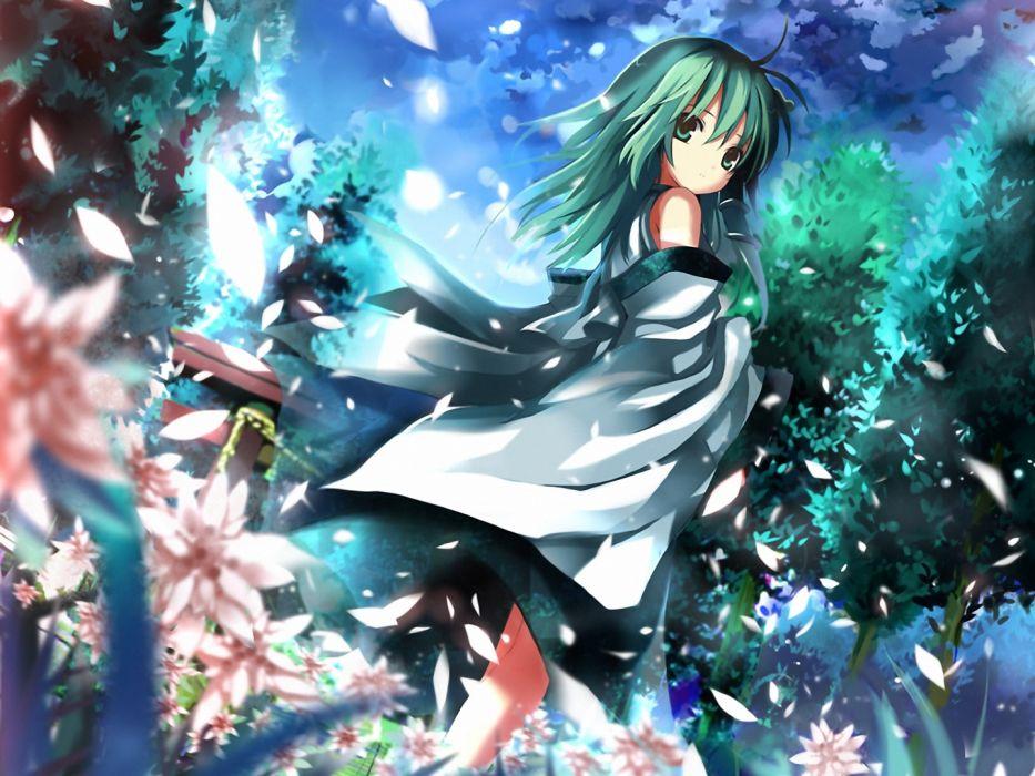 video games Touhou Miko green hair torii Kochiya Sanae flower petals Japanese clothes detached sleeves Shino (Eefy) wallpaper