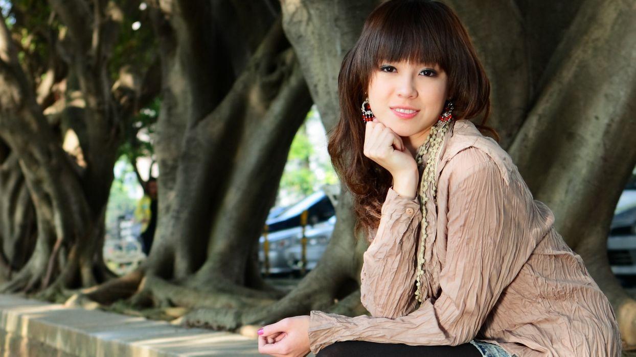 women models Asians bangs wallpaper