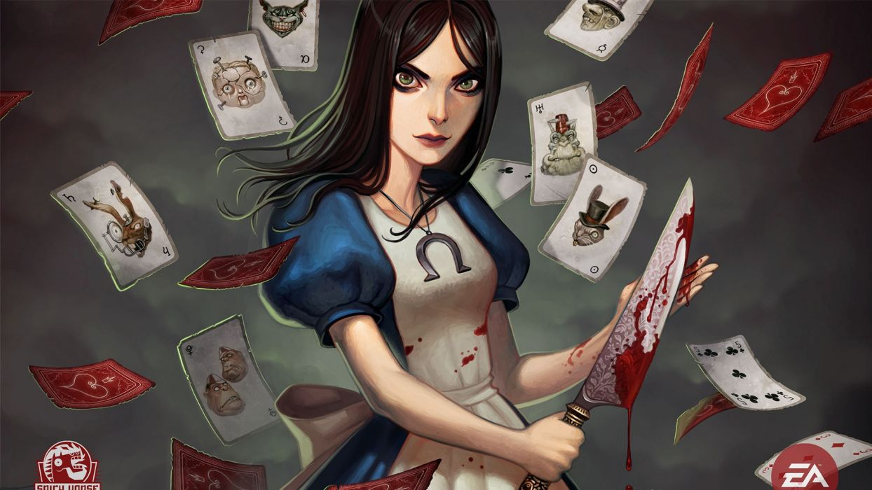 cards video games Alice in Wonderland knives Alice: Madness Returns Electronic Arts wallpaper