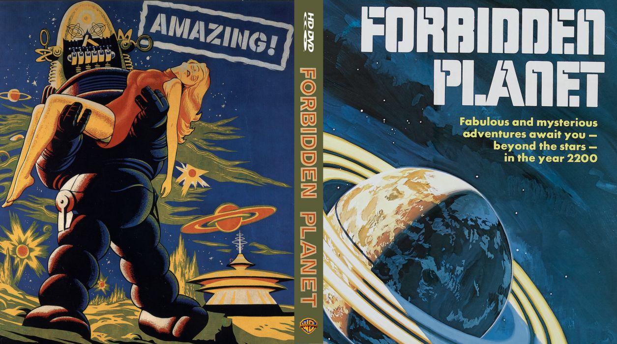 FORBIDDEN PLANET action adventure sci-fi robot poster      b wallpaper
