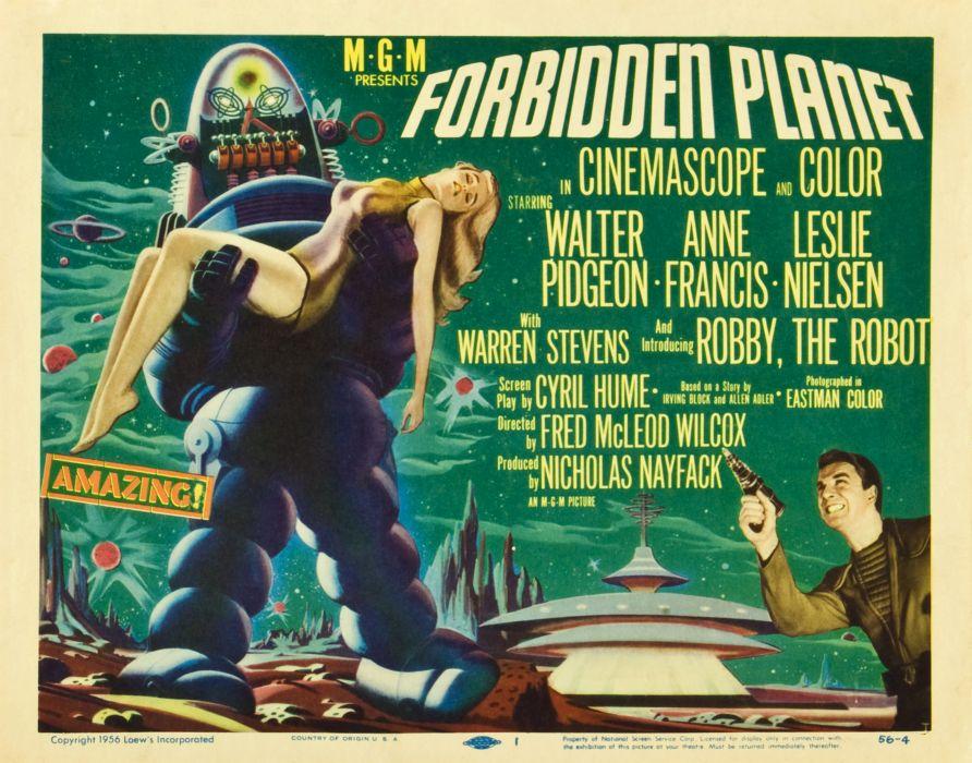 FORBIDDEN PLANET action adventure sci-fi robot poster    j wallpaper