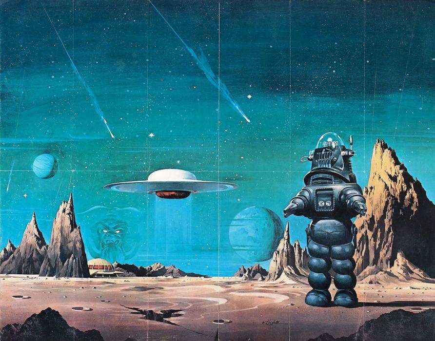 FORBIDDEN PLANET action adventure sci-fi robot spaceship    t wallpaper