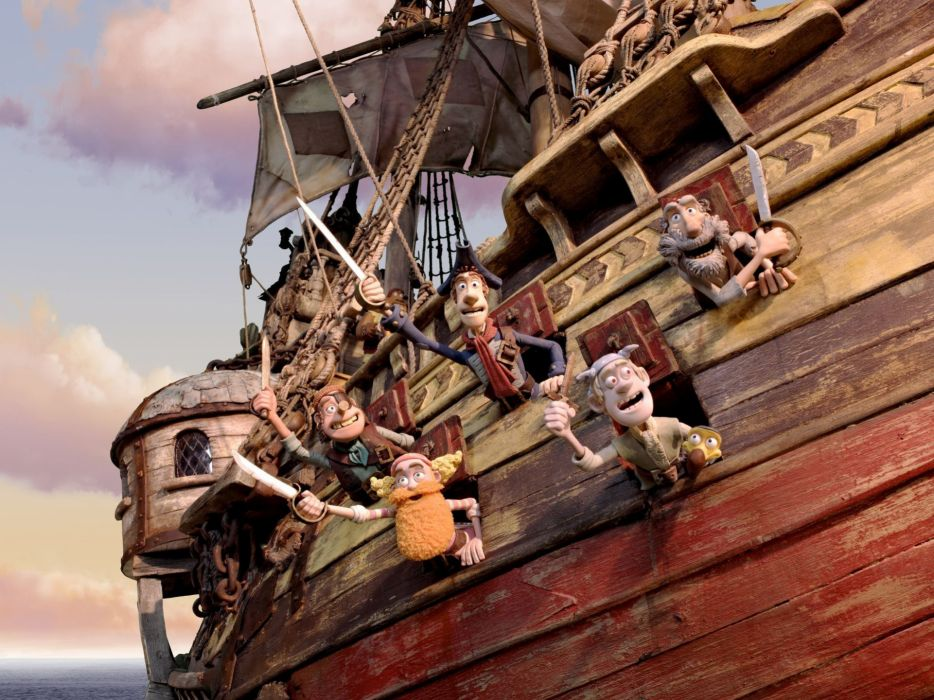 The Pirates! Band of Misfits animation adventure comedy cartoon pirate (2) wallpaper