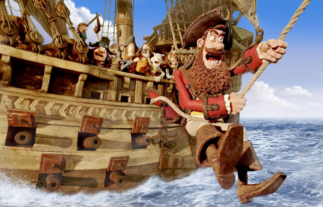The Pirates! Band of Misfits animation adventure comedy cartoon pirate (11) wallpaper